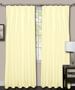 French Pleat Ivory Silk Curtains