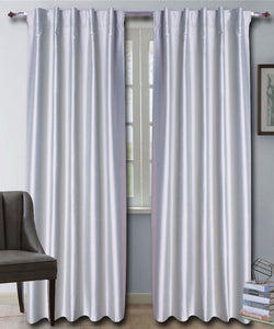 Hidden Tab Grey Silk Curtains