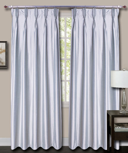 French Pleat Grey Silk Curtains