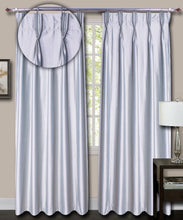 Load image into Gallery viewer, Pinch Pleated Grey Silk Curtains