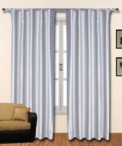 Hook Top Grey Silk Curtains