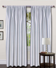 Load image into Gallery viewer, Rod Top Grey Silk Curtains