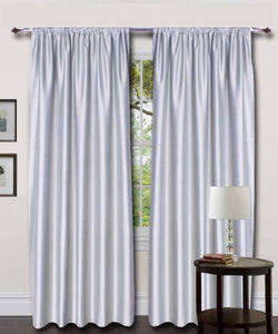 Rod Top Grey Silk Curtains