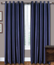 Load image into Gallery viewer, Eyelet Blue Silk Curtains