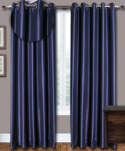 Load image into Gallery viewer, Grommet Top Blue Silk Curtains