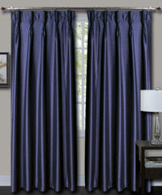 Load image into Gallery viewer, French Pleat Blue Silk Curtains