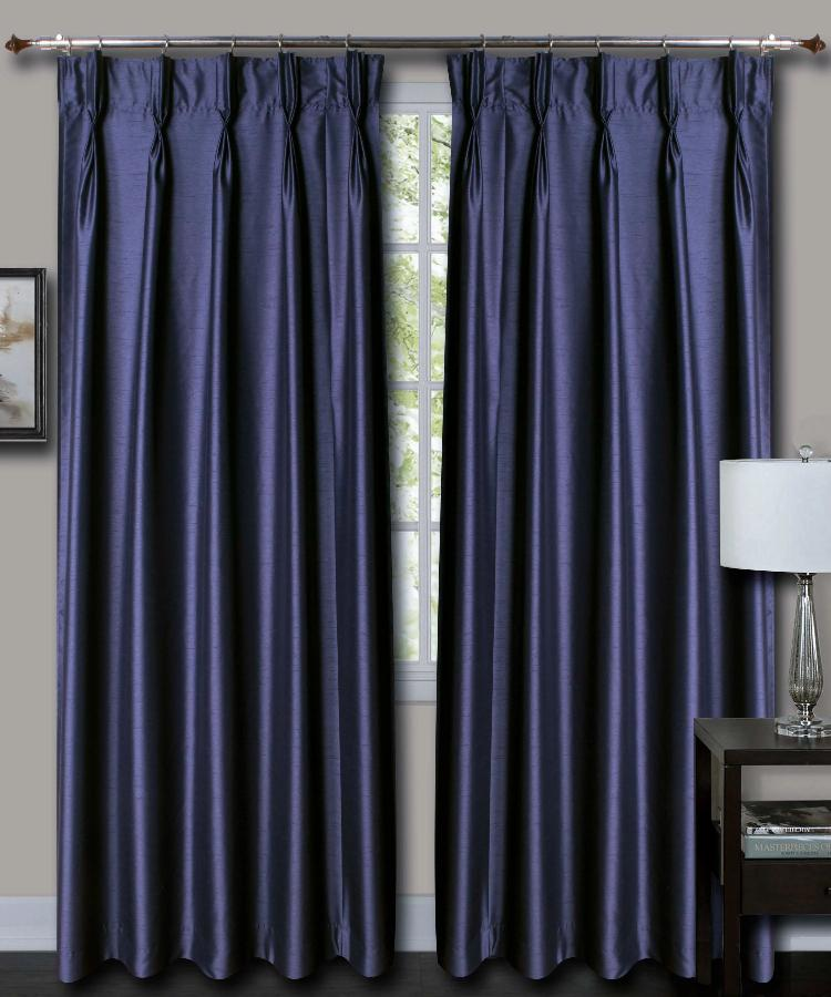 French Pleat Blue Silk Curtains