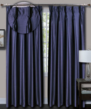 Load image into Gallery viewer, Pinch Pleated Blue Silk Curtains