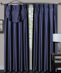 Pinch Pleated Blue Silk Curtains