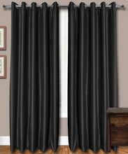 Load image into Gallery viewer, Black Eyelet Silk Curtains