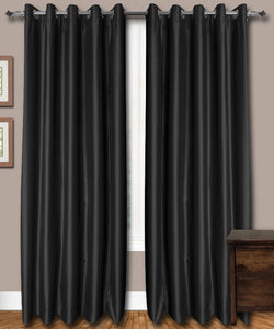 Black Eyelet Silk Curtains