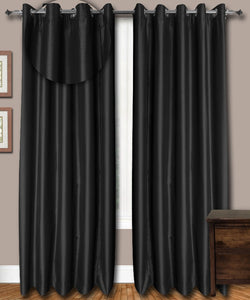 Grommet Top Black Silk Curtains