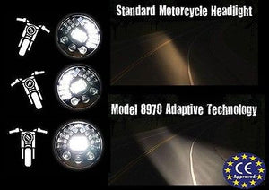 "7"" JW Speaker LED Adaptive Headlamp For Harley-Davidson Triumph BMW Indian"