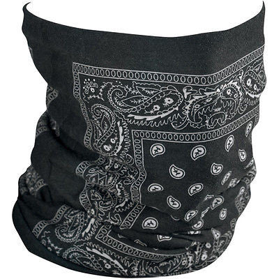Braga Pañuelo Para Cuello Fleece-Lined Motley Black  Paisley Tube