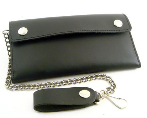 Cartera Black Leather Trifold Wallet With Chain Extra Long