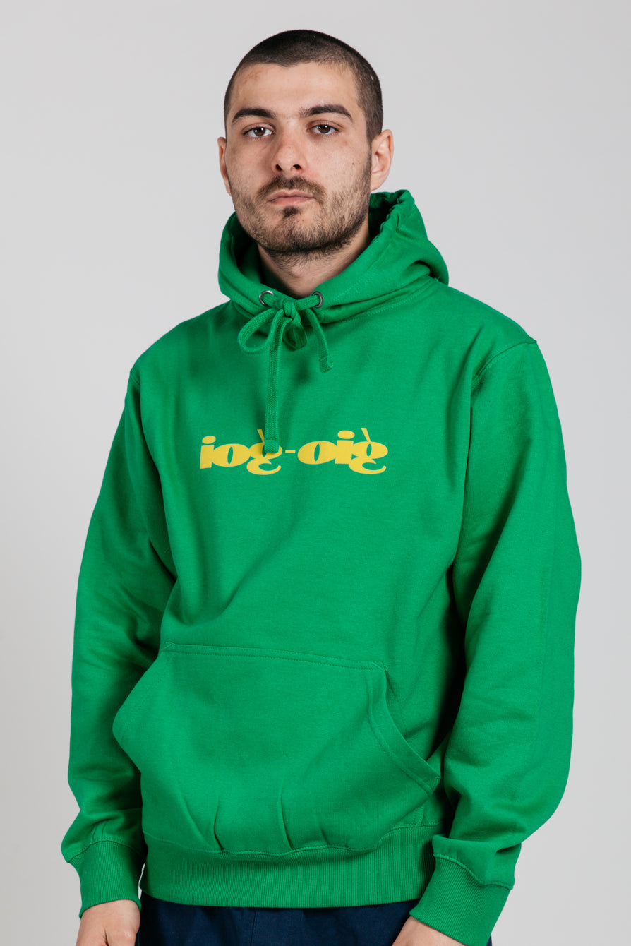 GIO GOI Reverse Classic Hooded Sweatshirt Green FRONT MAIN IMAGE