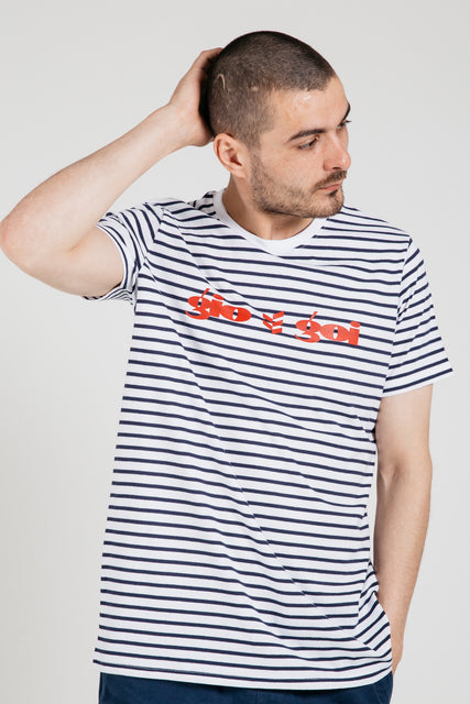 Les Rayures Chest Logo – Navy/White