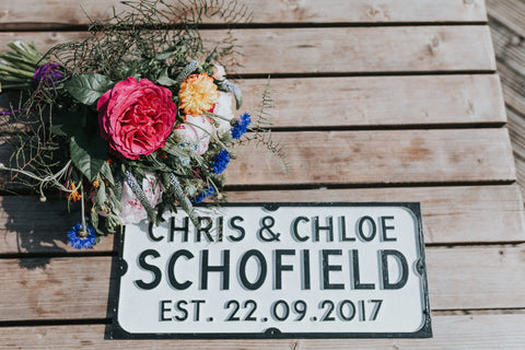 Personalised Wooden Vintage Street Sign Handmade & Bespoke (Couples Gift)