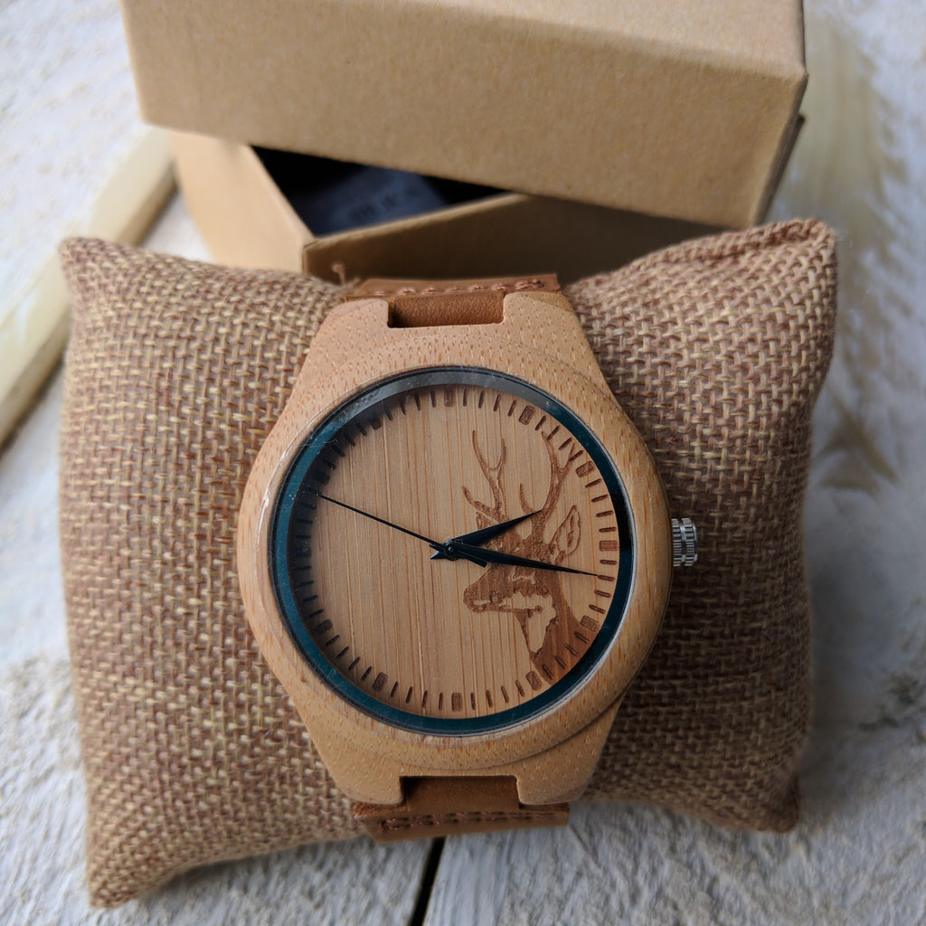 Personalised Wooden Watch With Stag