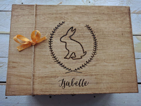 Personalised Stained Large Memory Box (rabbit wreath design)
