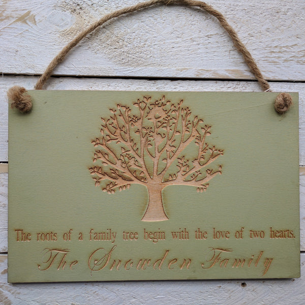 Personalised Sage Green Family Hanging Sign