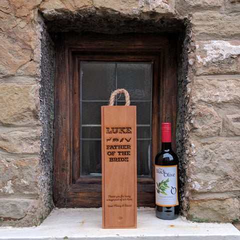 Personalised Wooden Wine Box With Rope Handle (cherry stain)