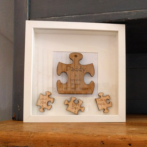 Personalised Wooden Jigsaw Deep Photo Frame