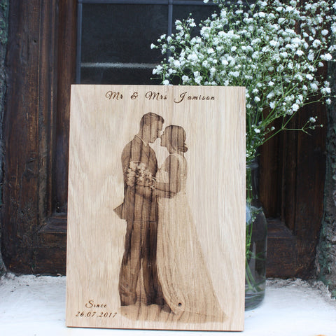 Engraved Wedding Photo & Message On Solid Wood (Large)