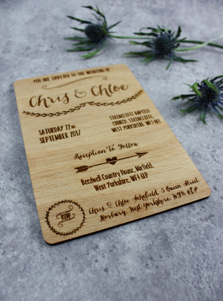 Wooden Wedding Invitations (Mismatched)