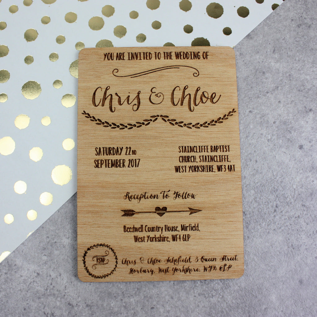 wooden wedding invitations mismatched - Wooden Wedding Invitations