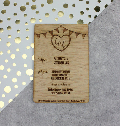 Wooden Wedding Invitations (Bunting)