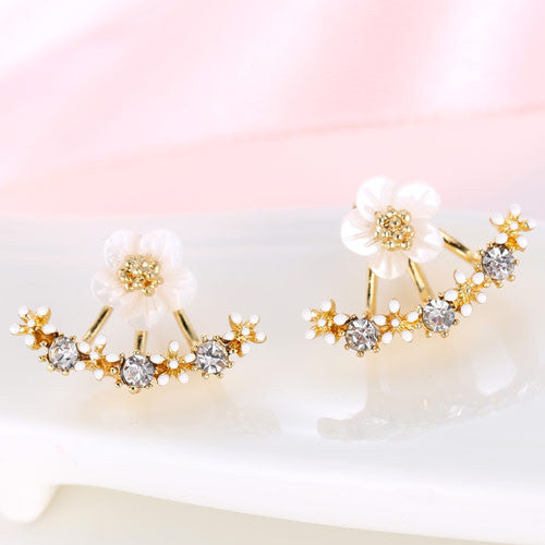 Crystal Front Back Double Sided Stud Earrings For Women Fashion