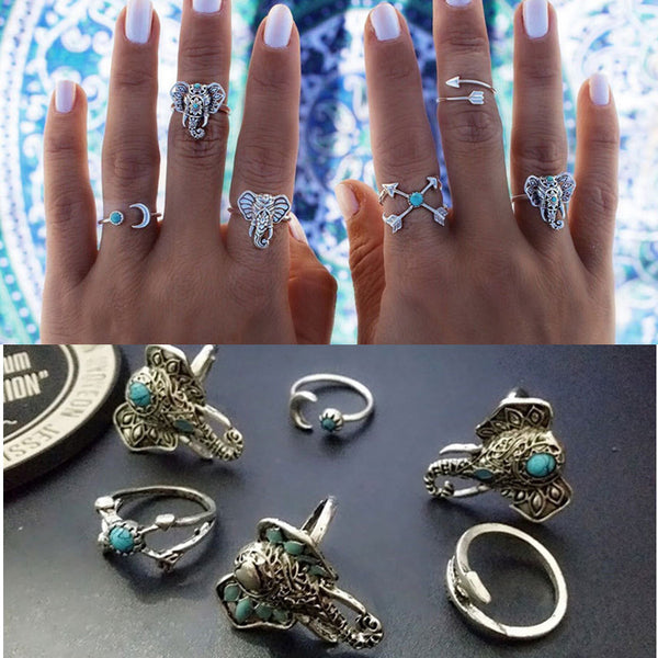 Set Vintage Rings Silver Plated for Women