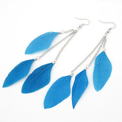 Feather Earrings for Women Silver Long Drop
