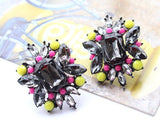 Stud Earrings Crystal Flower for Women