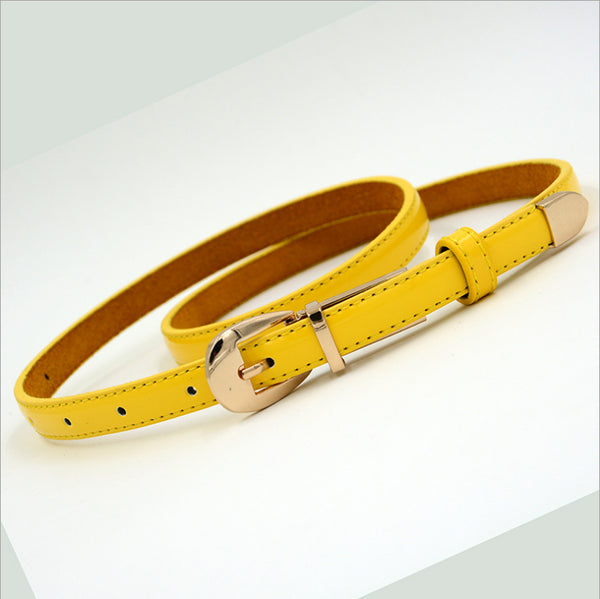 Candy Color Metal Buckle Thin Casual Belts for Women Leather Belt