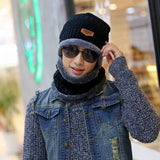 Brand Beanies Knit Men's Winter Hat  Knitted and Scarf