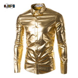 Mens Trend Coated Metallic  Button Down Shirts Party  For Men