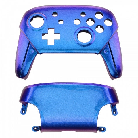 Nintendo Switch Pro Controller Soft Touch Chameleon Blue and Purple Custom Shell
