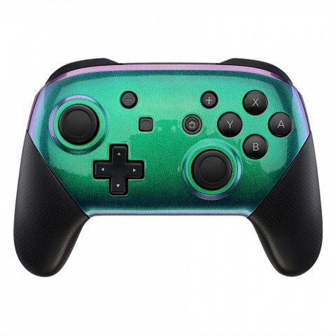 Nintendo Switch Pro Controller Soft Touch Chameleon Green and Purple Custom Shel