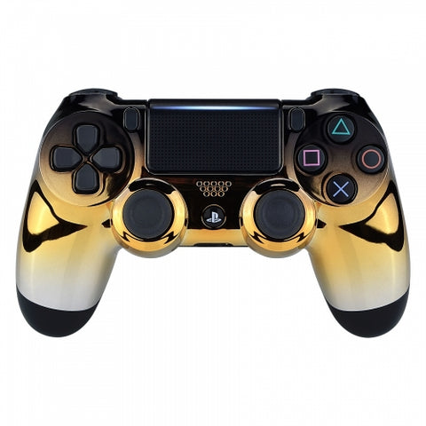 Official PS4 Controller V2 Custom Shadow Chrome Gold Front Shell Themed