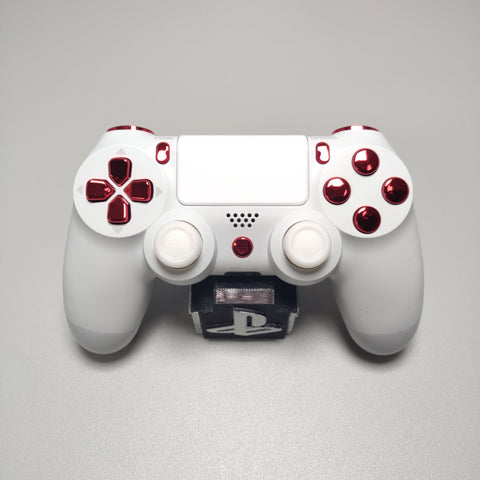 Official PS4 Controller V2 Custom Arctic White Themed w/ Chrome Red Buttons