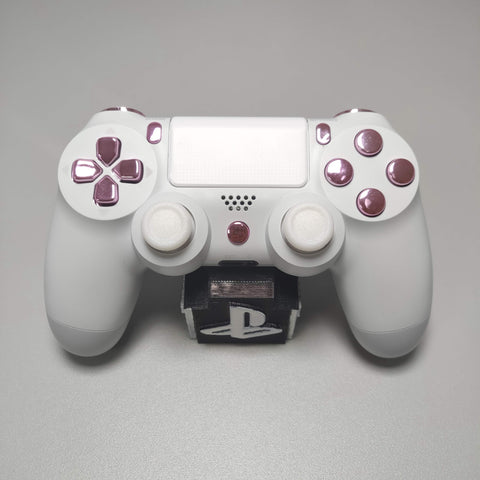 Official PS4 Controller V2 Custom Arctic White Themed w/ Chrome Pink Buttons