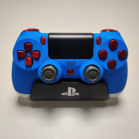 Official PS4 Controller V2 Custom Blue and Royal Red Themed