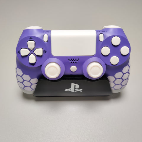 Official PS4 Controller V2 Custom Airbrush Purple and White Hexo Themed