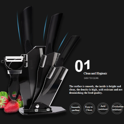 Luxury Chef Essential Black Ceramic Knife Set