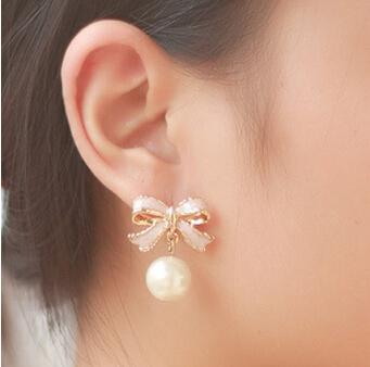 Delicate Gold Pink Ribbon Bow Knot Pearl Stud Earrings