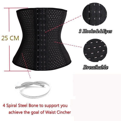 Waist Trainer Corsets Cincher Body Shaper (Black & Beige)