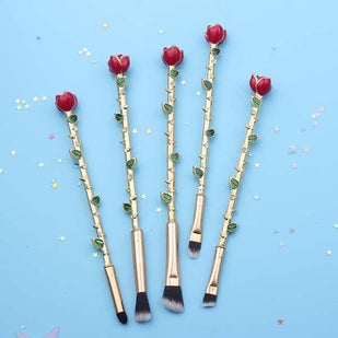 Beauty and the Beast Crystal Rose Flower Makeup Brushes (5 Pcs)