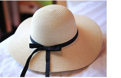 Summer Wide Straw Hat with Ribbon